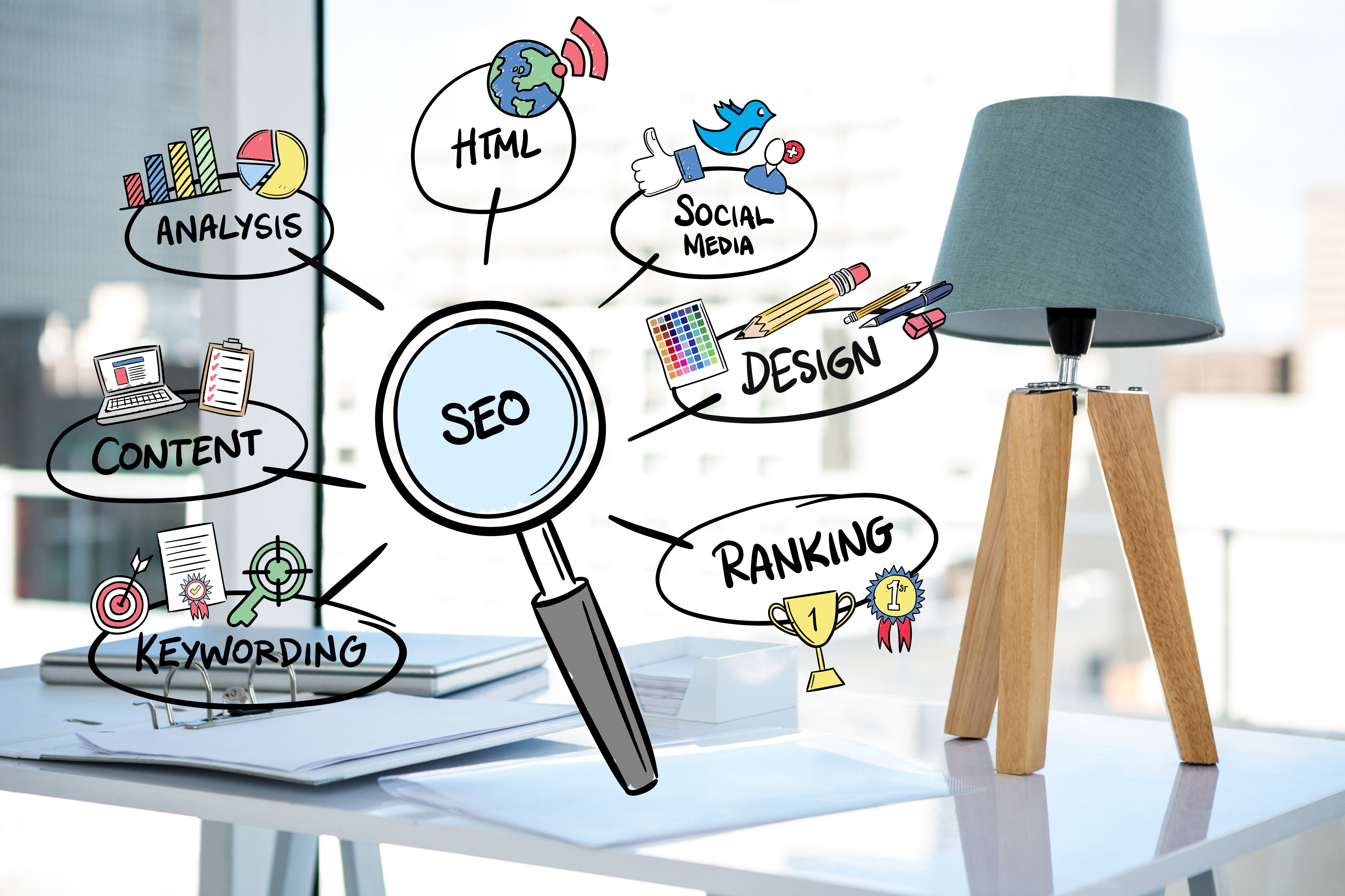 Magnifying glass with seo concepts for grow your business